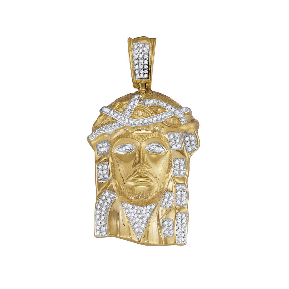 10K Yellow Gold Men's Diamond Jesus Christ Head Charm Pendant 3/8 Ct