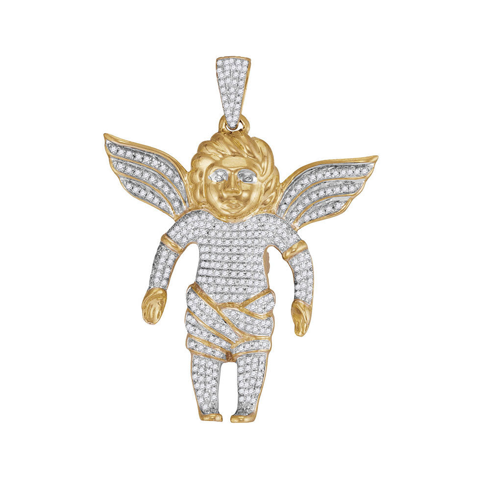 10K Yellow Gold Men's Diamond Guardian Angel Charm Pendant 7/8 Ct