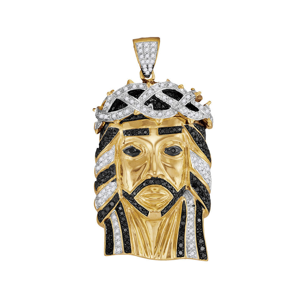 10K Yellow Gold Men's Black Color Enhanced Diamond Jesus Christ Messiah Head Charm Pendant 1-1/4 Ct