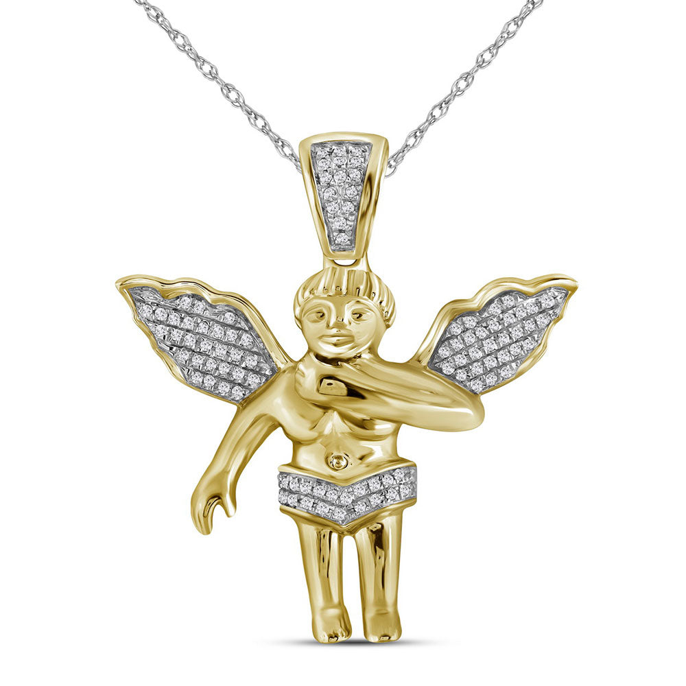 10K Yellow Gold Men's Diamond Polished 3D Guardian Angel Cherub Charm Pendant 1/6 Ct