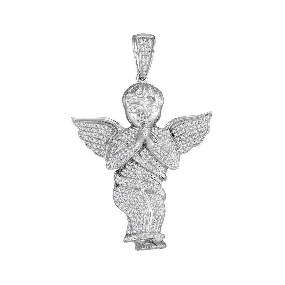 10K White Gold Men's Diamond Angel Cherub Charm Pendant 1.00 Ct