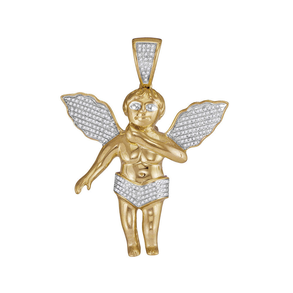 "10K Yellow Gold Diamond Men's Polished 3D Guardian Angel Cherub Large 2.2"" Charm Pendant 1/2 Ct"