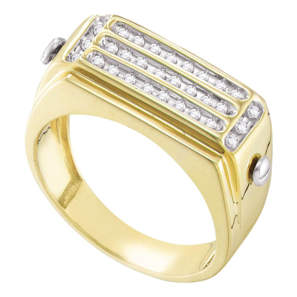 10K Yellow Gold Mens Round Diamond Cluster Ring 1/4 Ct