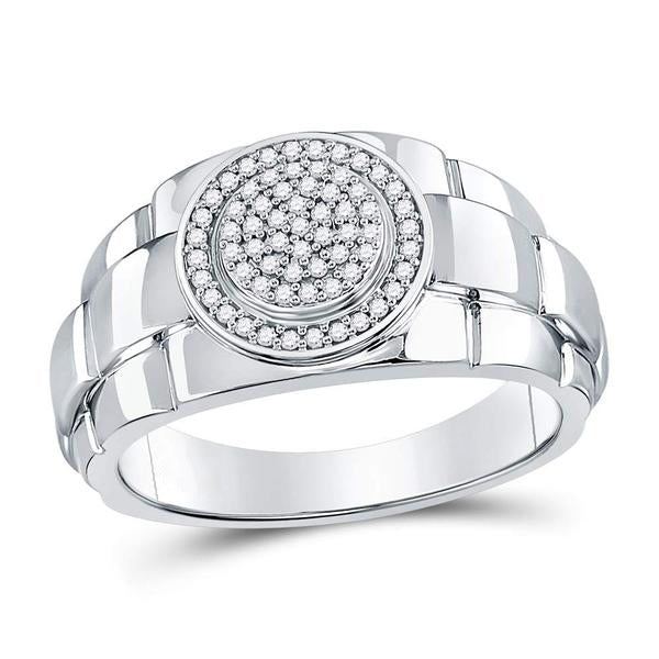 Men's 1/5 Ct Diamond Circle Cluster Ring in 10K White Gold