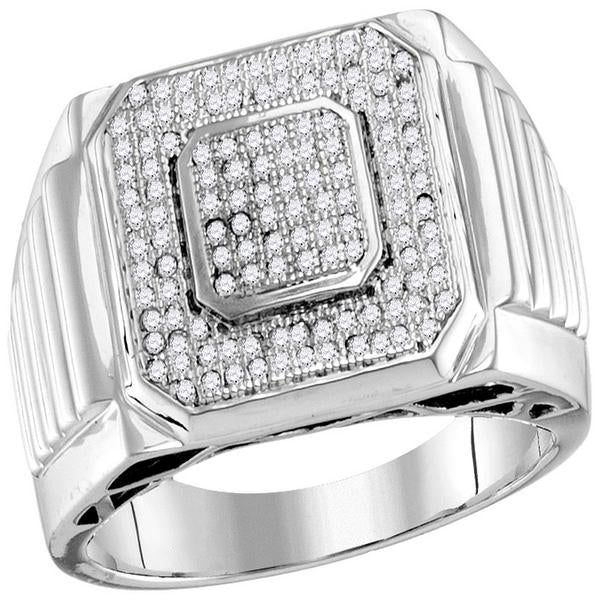 Men's 1/3 Ct Diamond Pave-set Square Cluster Ring in 10K White Gold