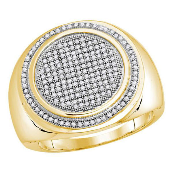 Men's 1/2 Ct Diamond Pave-set Circle Frame Cluster Ring in 10K Yellow Gold