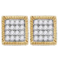Men's 1.00 Ct Diamond Square 3D Cluster Stud Earrings in 10K Yellow Gold