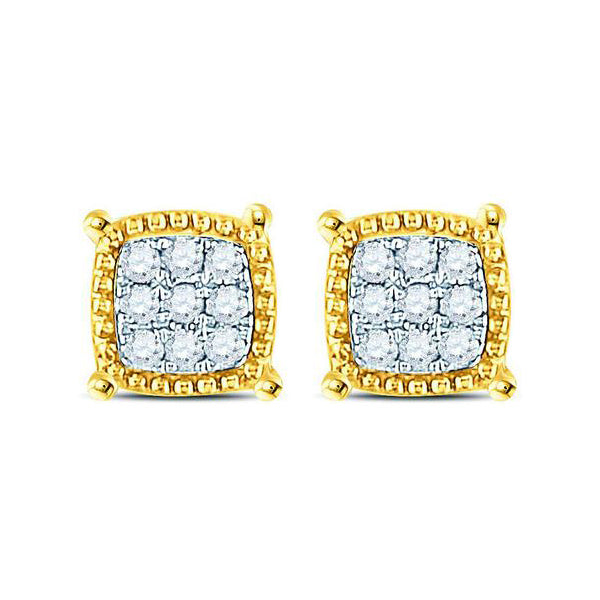 Men's 1/10 Ct Diamond Square Milgrain Cluster Earrings in 10K Yellow Gold