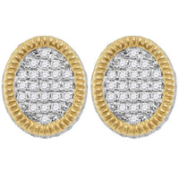 Men's 3/4 Ct Diamond Fluted Oval Cluster Stud Earrings in 10K Yellow Gold