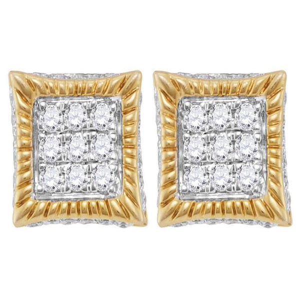 Men's 1/3 Ct Diamond Square Fluted 3D Cluster Stud Earrings in 10K Yellow Gold