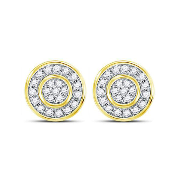 Men's 3/4 Ct Diamond 3D Cluster Stud Earrings in 10K Yellow Gold