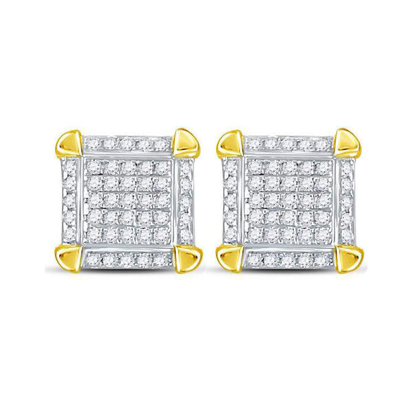 Men's 1/6 Ct Diamond Square Cluster Stud Earrings in 10K Yellow Gold