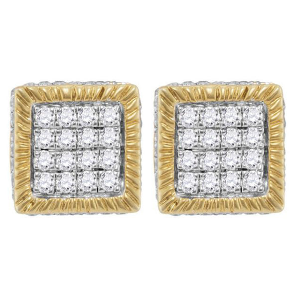 Men's 3/4 Ct Diamond Square 3D Cluster Stud Earrings in 10K Yellow Gold