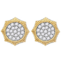 Men's 3/4 Ct Diamond Starburst 3D Cluster Stud Earrings in 10K Yellow Gold