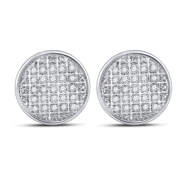 Men's 1/8 Ct Diamond Circle Cluster Stud Earrings in 10K White Gold