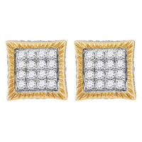 Men's 3/4 Ct Diamond Square Fluted Cluster Stud Earrings in 10K Yellow Gold