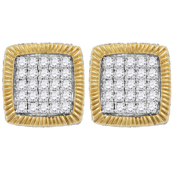 Men's 7/8 Ct Diamond Square Fluted Cluster Earrings in 10K Yellow Gold