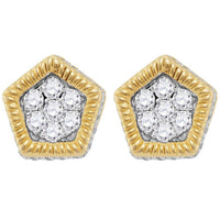 Men's 1/2 Ct Diamond Polygon Fluted Cluster Stud Earrings in 10K Yellow Gold