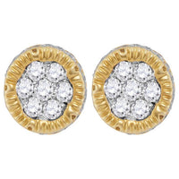Men's 1/2 Ct Diamond 3D Circle Cluster Stud Earrings 10K Yellow Gold