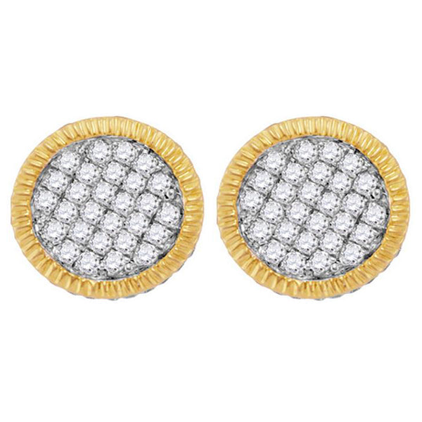 Men's 3/4 Ct Diamond Fluted Circle Cluster Stud Earrings in 10K Yellow Gold