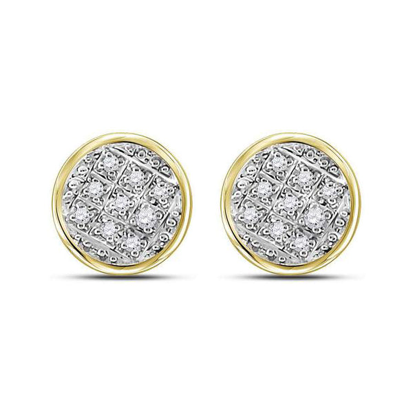 Men's 1/20 Ct Diamond Circle Cluster Stud Earrings in 10K Yellow Gold