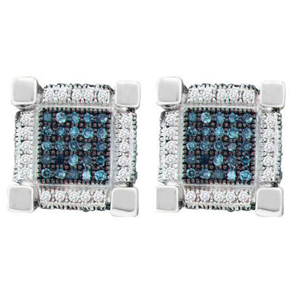 Men's 3/4 Ct Diamond Blue Color Enhanced 3D Cube Square Earrings in 10K White Gold