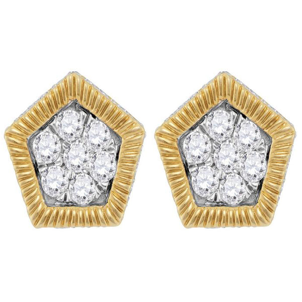 Men's 3/4 Ct Diamond Polygon Fluted Cluster Stud Earrings in 10K Yellow Gold