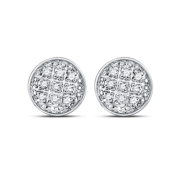 Men's 1/20 Ct Diamond Circle Cluster Earrings in 10K White Gold
