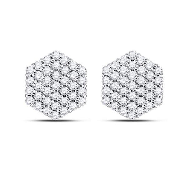 Men's 1.00 Ct Diamond Hexagon Cluster Stud Earrings in 14K White Gold