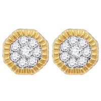 Men's 3/4 Ct Diamond Fluted Hexagon Cluster Stud Earrings in 10K Yellow Gold