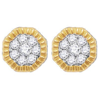 Men's 1/2 Ct Diamond Fluted Hexagon Cluster Stud Earrings in 10K Yellow Gold