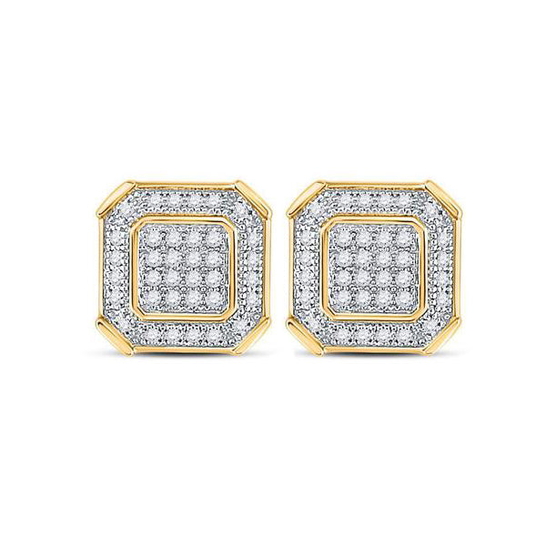 Men's 1/5 Ct Diamond Square Cluster Stud Earrings in 10K Yellow Gold