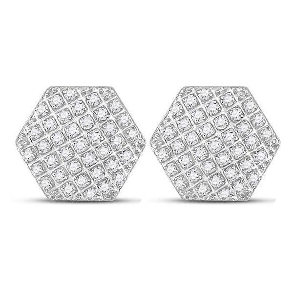Men's 1/5 Ct Diamond Hexagon Cluster Stud Earrings in 10K White Gold
