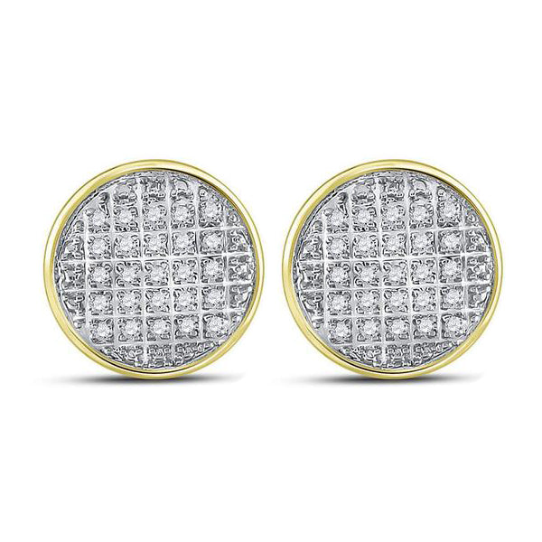 Men's 1/8 Ct Diamond Circle Cluster Stud Earrings in 10K Yellow Gold