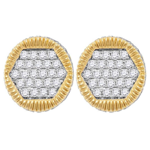 Men's 3/4 Ct Diamond 3D Circle Cluster Stud Earrings in 10K Yellow Gold