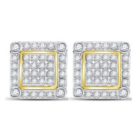 Men's 1/4 Ct Diamond Square Cluster Stud Earrings in 10K Yellow Gold