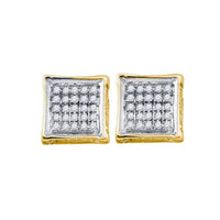 Men's 1/8 Ct Diamond Square Cluster Stud Earrings in 10K Yellow Gold