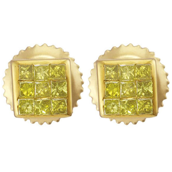 Men's 1/4 Ct Diamond Princess Yellow Color Enhanced Square Earrings in 10K Yellow Gold