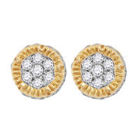 Men's 1/4 Ct Diamond 3D Circle Cluster Stud Earrings in 10K Yellow Gold