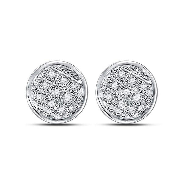 Men's 1/20 Ct Diamond Circle Cluster Stud Earrings in 10K White Gold