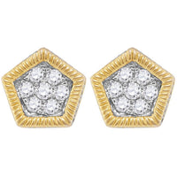 Men's 7/8 Ct Diamond Polygon Fluted Cluster Stud Earrings in 10K Yellow Gold