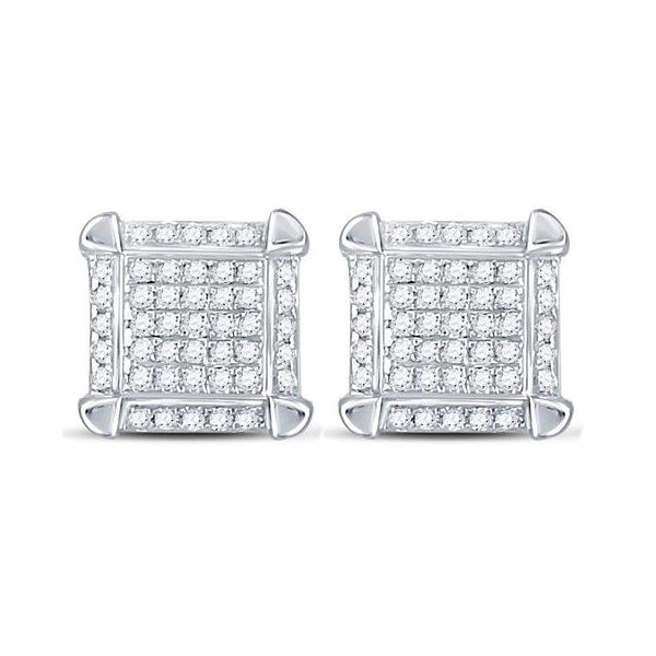 Men's 1/6 Ct Diamond Square Cluster Stud Earrings in 10K White Gold