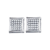 Men's 1/8 Ct Diamond Square Cluster Stud Earrings in 10K White Gold