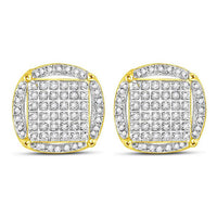 Men's 3/8 Ct Diamond Circle Cluster Earrings in 10K Yellow Gold
