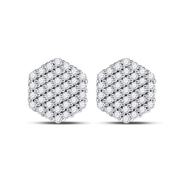 Men's 1/2 Ct Diamond Hexagon Cluster Stud Earrings in 14K White Gold