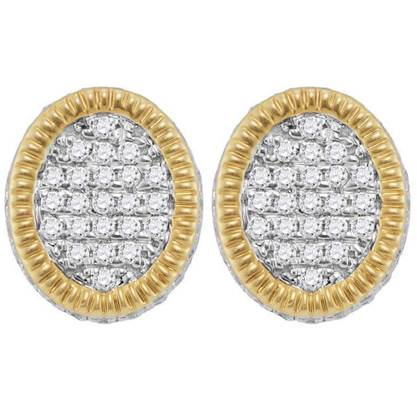Men's 7/8 Ct Diamond Fluted Oval Cluster Stud Earrings in 10K Yellow Gold