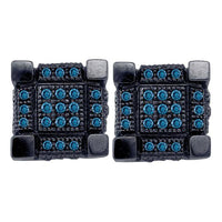 Men's 1/3 Ct Diamond Blue Color Enhanced 3D Cube Square Cluster Earrings in 10K White Black-tone Gold