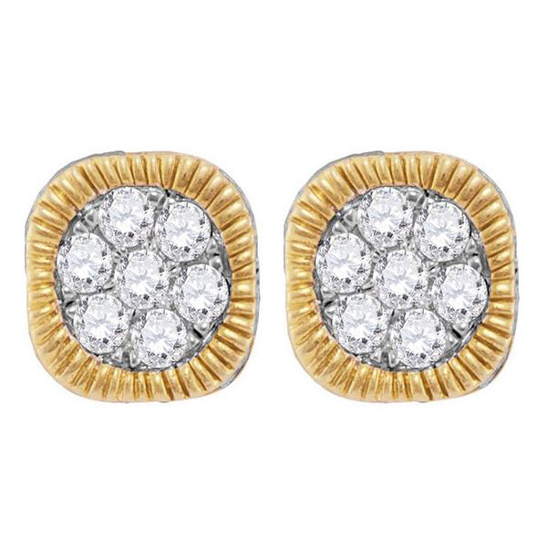 Men's 1.00 Ct Diamond Fluted Flower Cluster Earrings in 10K Yellow Gold