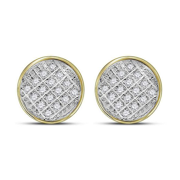 Men's 1/12 Ct Diamond Circle Cluster Stud Earrings in 10K Yellow Gold