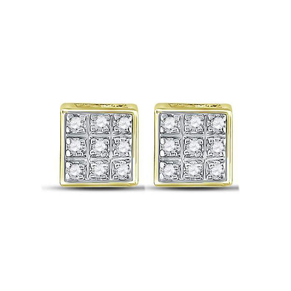 Men's 1/20 Ct Diamond Square Cluster Stud Earrings in 10K Yellow Gold